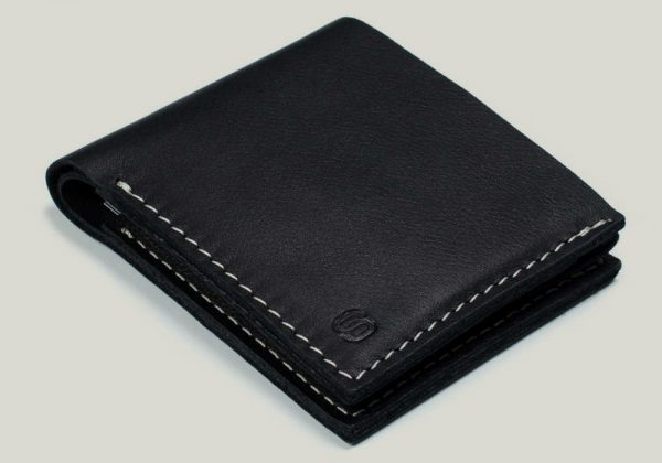 leather wallet omni Ledergeldbörse schwarz black