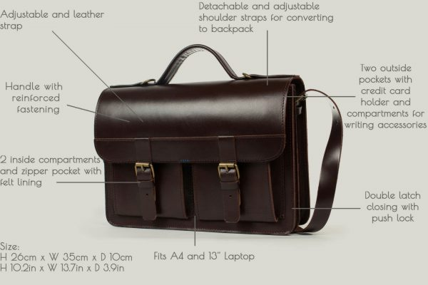 aktentasche mit rucksackfunktion leder satchel bag brown braun