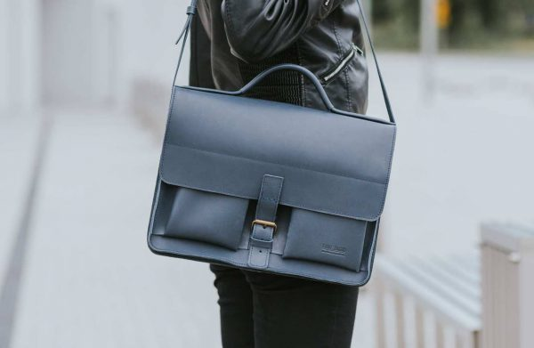 aktentasche satchel bag leder leather blue blu