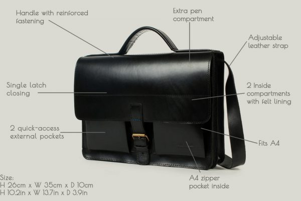 aktentasche satchel bag leder leather black schwarz