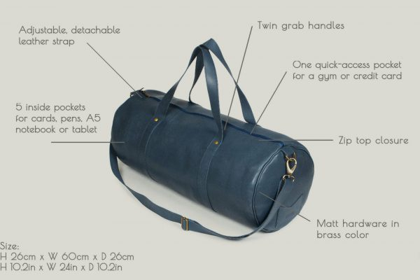 Barrel bag weekender bag leader leder blue blu
