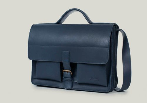 aktentasche satchel bag leder leather blue blau